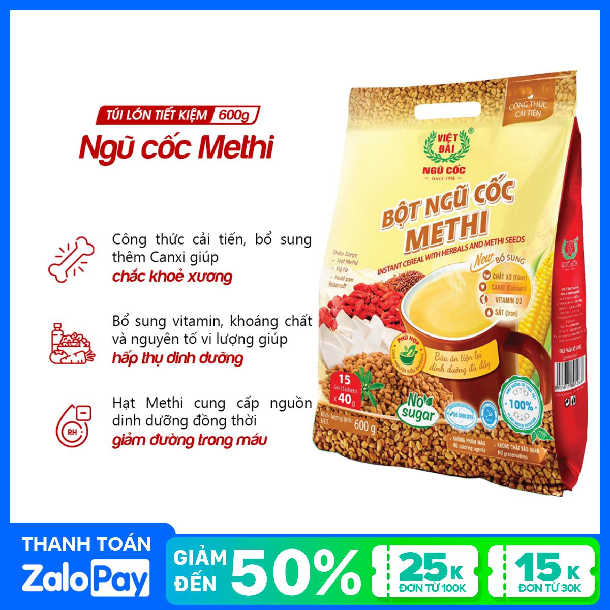 Bột ngũ cốc Methi Việt Đài 600gr