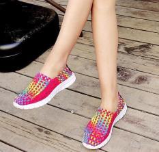 Giày casual đan thời trang nữ nhập khẩu đa sắc màu-size 35-37 / Women colorful casual woven shoes size 35-37