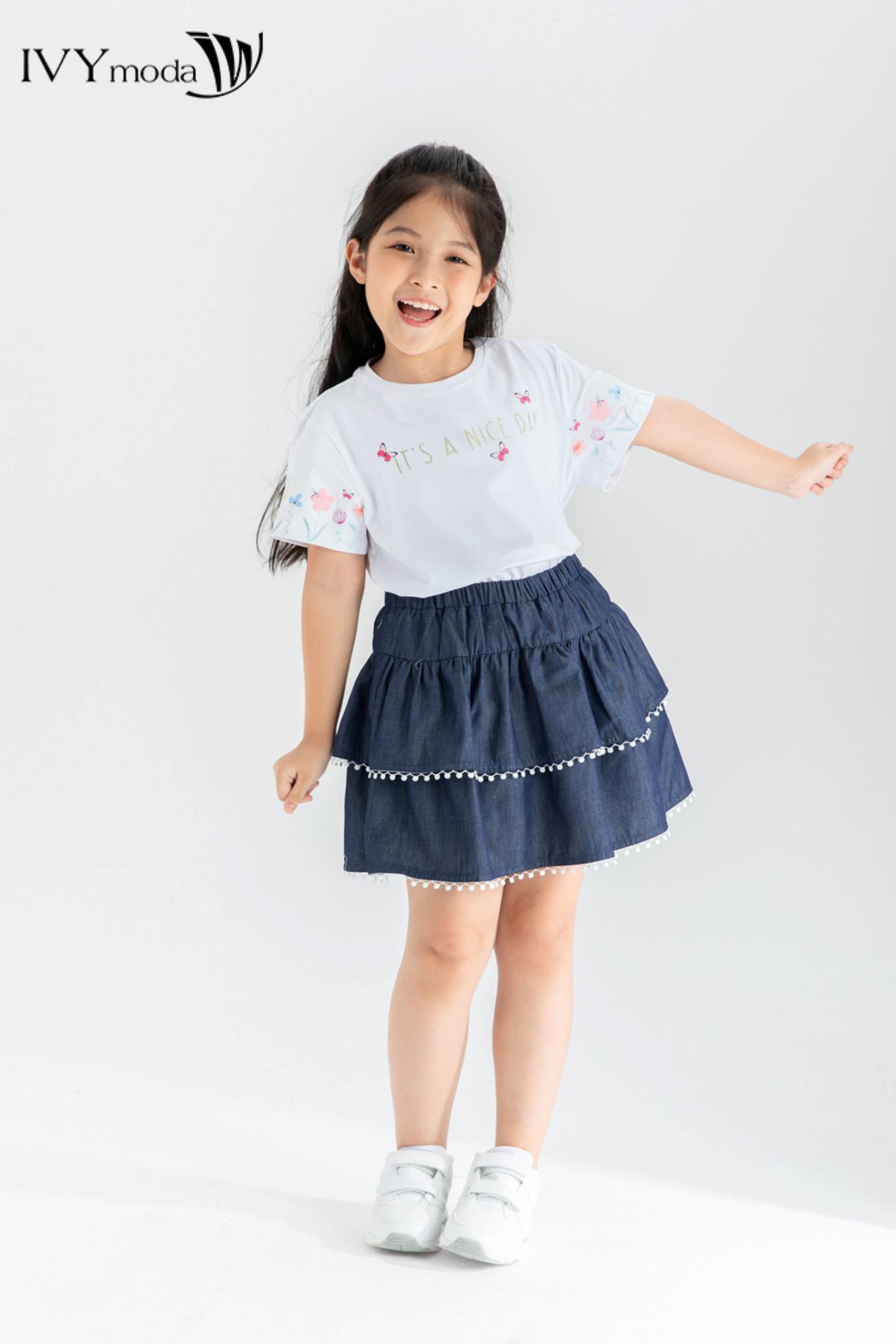 Áo thun bé gái in chữ ánh nhũ dễ thương IVY moda MS 57G1342