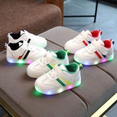 Giày Thể Thao Bé Trai Và Bé Gái Hai Sọc Có Đèn LED