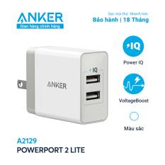 Sạc ANKER PowerPort 2 Lite 2 cổng PowerIQ 12W – A2129 – Sạc tối ưu với công suất 12W khi sử dụng 1 cổng, trang bị nhiều công nghệ an toàn tiên tiến giúp bảo vệ thiết bị và sạc