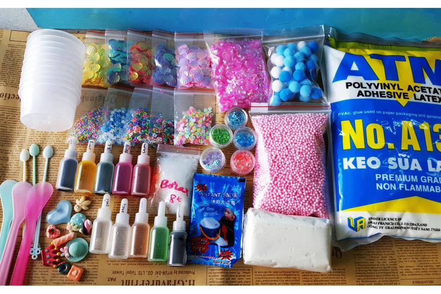 Combo, Bộ kit nguyên liệu KHỦNG làm Slime giá rẻ, đầy đủ tất cả các món như hình