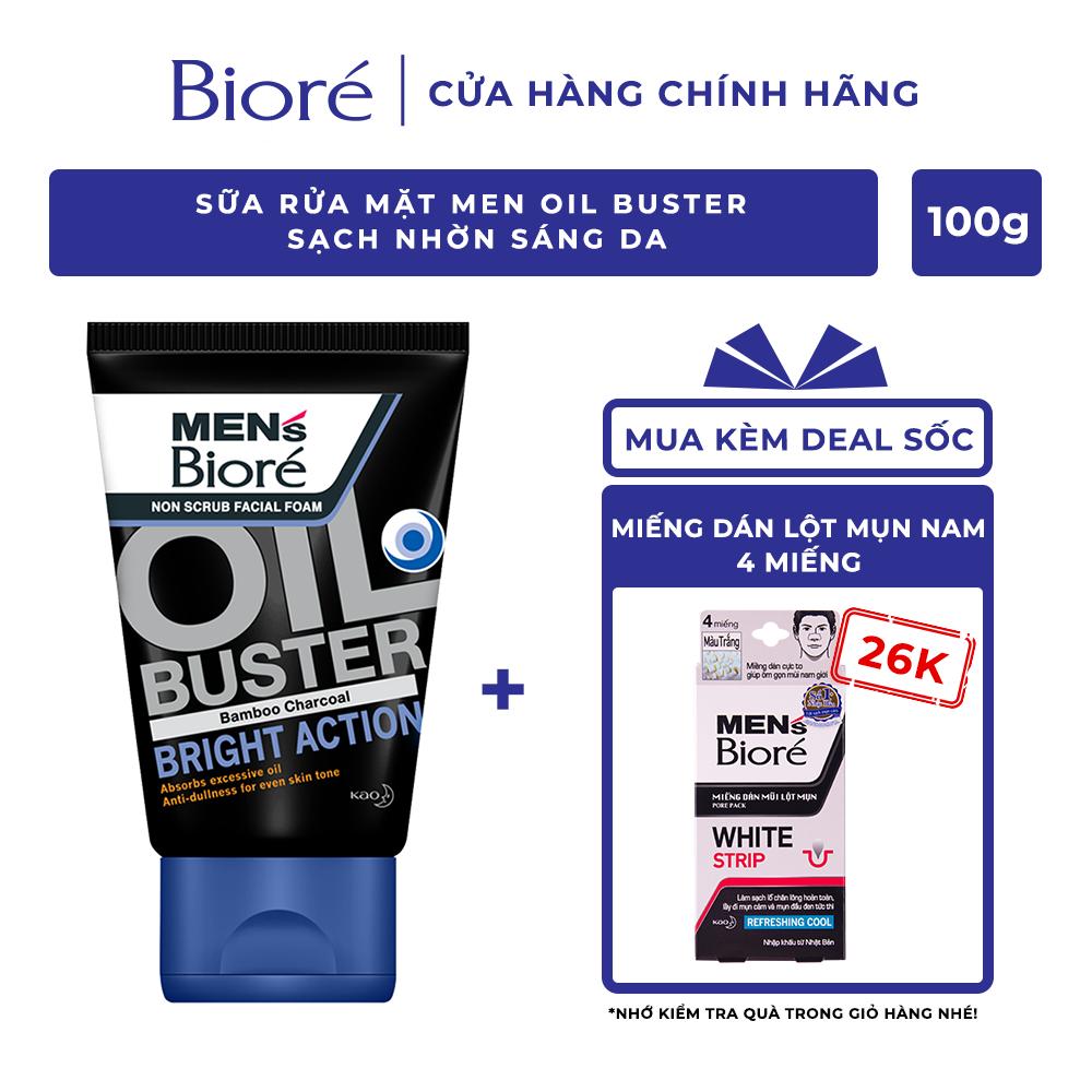 Sữa Rửa Mặt Men Biore Oil Buster Sạch Nhờn Sáng Da 100g