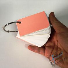 100 thẻ flashcard trắng bo góc 4×7 cm tặng kèm khoen – Flashcard Phan Liên