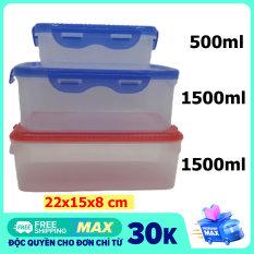 Combo 3 hộp nhựa đựng thực phẩm chữ nhật cao cấp dung tích 500ml, 1500ml, 1500ml nhựa trong suốt, có nắp đậy- Màu ngẫu nhiên