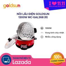 Nồi lẩu điện đa năng Goldsun 3 lít – 1300W MC-GAL368 (R) – 2 tầng có lồng hấp, công suất mạnh nấu nhanh