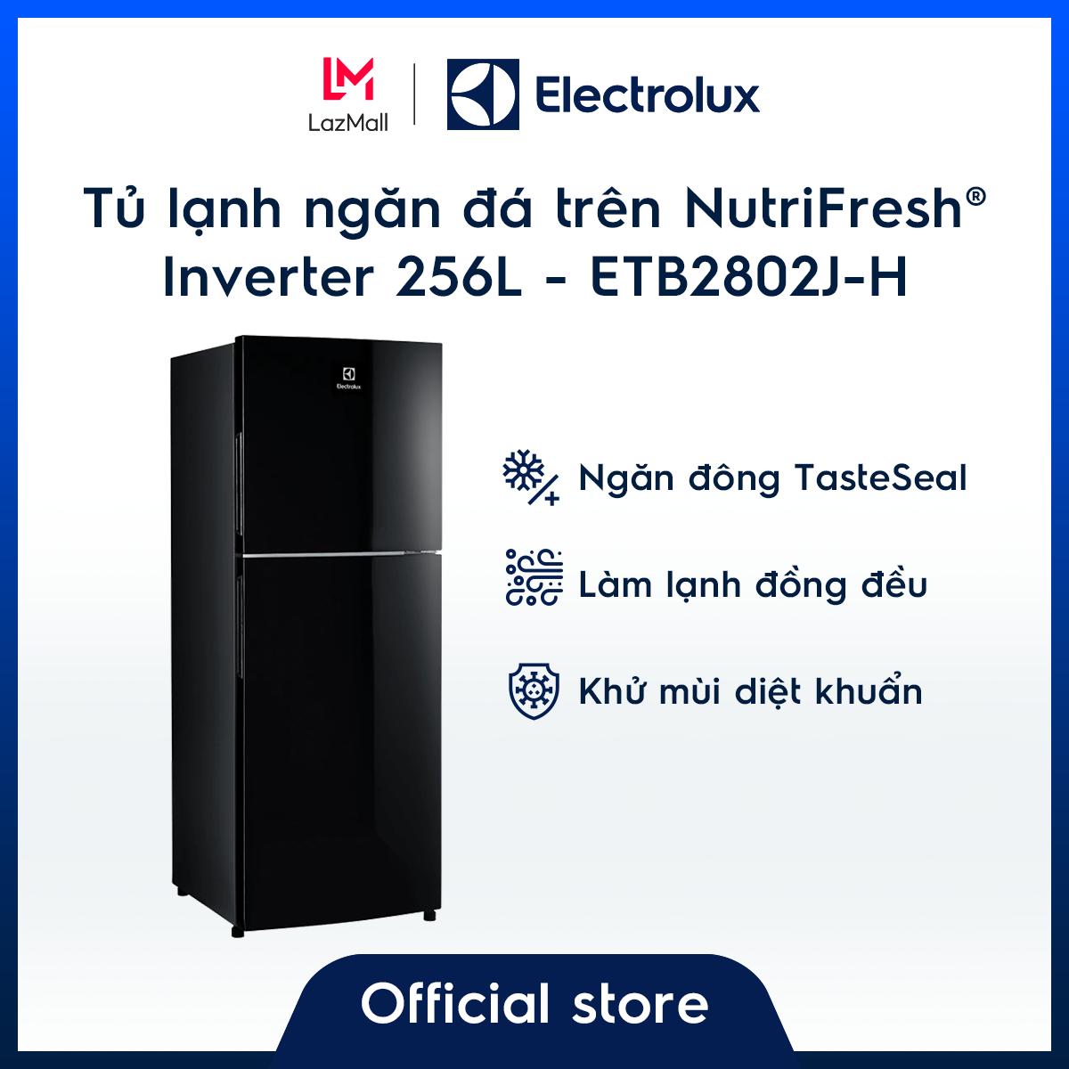 Tủ lạnh Electrolux 256L ETB2802J-H – Màu đen độc đáo – Ngăn đông mềm giữ thực phẩm tươi ngon – Khử mùi diệt khuẩn – Hàng chính hãng