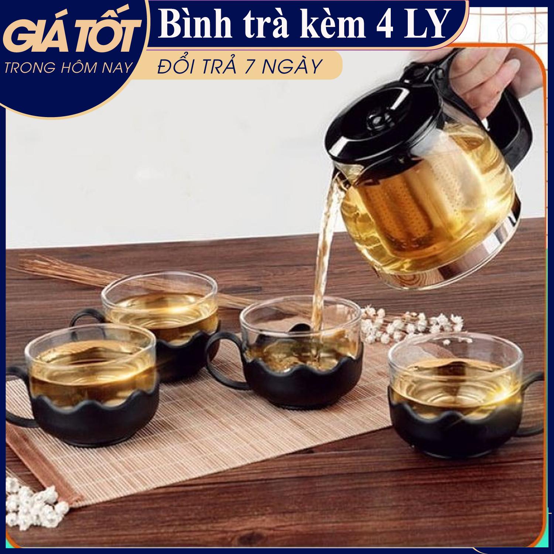 Bình trà - Bộ bình trà - Bộ bình lọc trà kèm 4 ly - Bộ Bình Lọc Trà Nhựa...