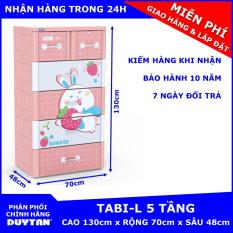 Tủ nhựa Duy Tân TABI-L 5 tầng (Hồng thỏ dâu) – chất liệu nhựa PP/ABS, kiểu dáng hiện đại, thiết kế tiện lợi, kích thước 70 x 48 x 130cm