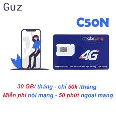 Sim 4G Mobifone C50N Tặng 30GB/tháng +1000p nội mạng +50p ngoại mạng chỉ với 50k/tháng.