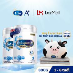 Bộ 2 lon Sữa bột Enfagrow A2 Neuropro 3 cho trẻ từ 1 – 6 tuổi – 800g -Tặng 1 bộ mền gối bò sữa