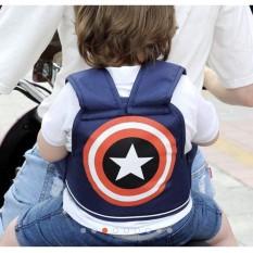 Đai ngồi xe máy vai đeo cho bé an toàn mẫu Captain xanh đậm