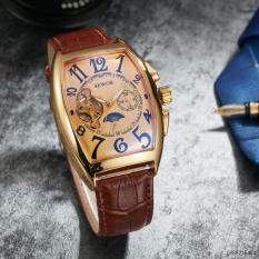 iWATCH – Đồng hồ cơ nam SEWOR dây da lộ cổ điển 5 kim IW-SE02 (viền vàng)