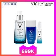 Bộ ba sản phẩm dưỡng chất khoáng cô đặc Vichy Mineral 89 50ML giúp phục hồi và nuôi dưỡng cho làn da căng mịn