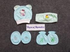 Combo bao tay bao chân mũ thóp giữ ấm cho bé yêu được làm từ vải cotton thoáng mát và mịn màng