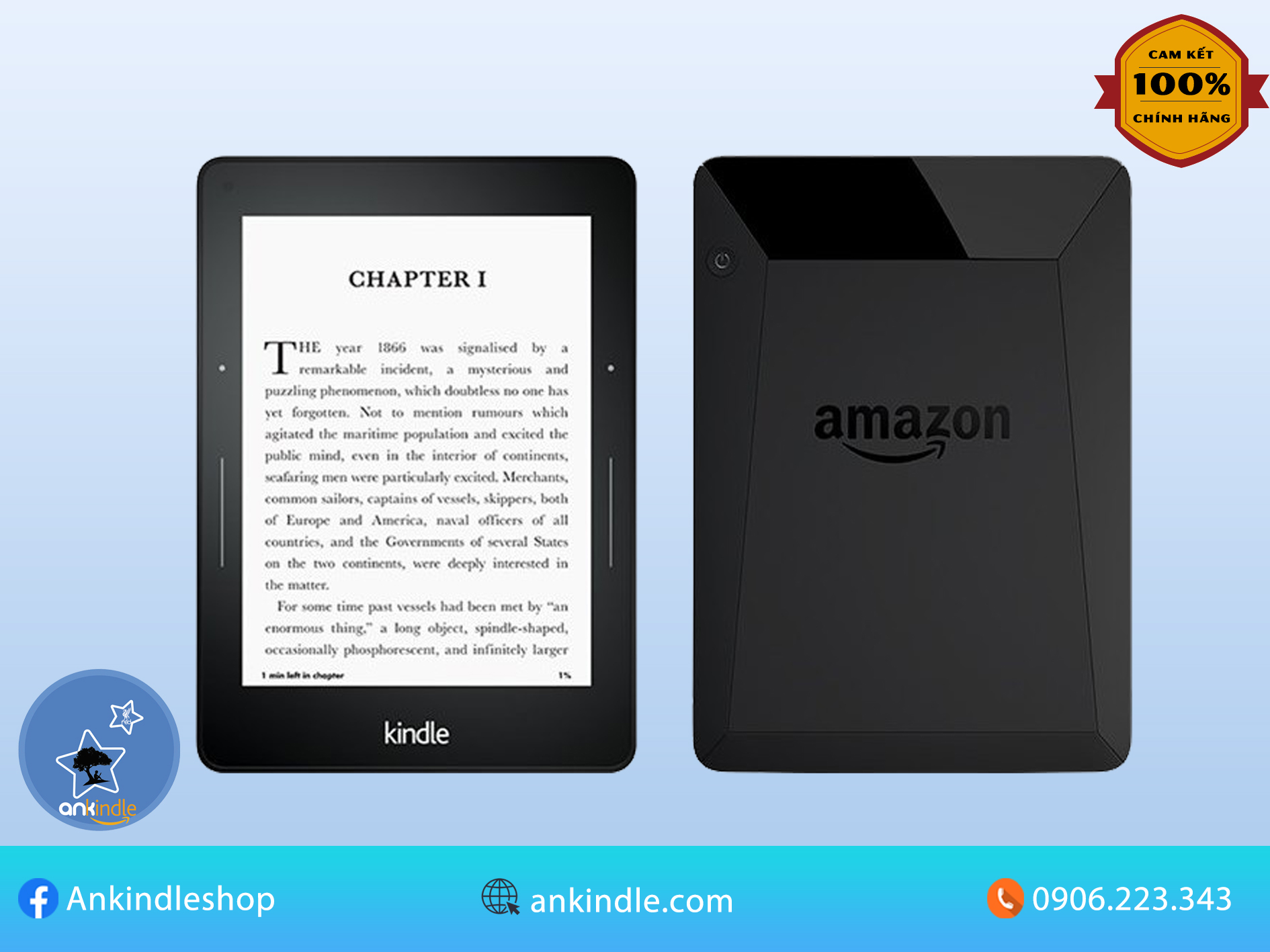 Máy đọc sách Kindle Voyage (7th) bộ nhớ 4GB, màn hình 6inch 300PPI sắc nét có đèn nền với phím...