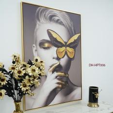 Tranh nghệ thuật , tranh trang trí tường, tranh cô gái phong cách hiện đại cá tính (90*120cm), decor trang trí nội thất , showroom, khách sạn, nhà hàng, quà tặng DH-HPT006
