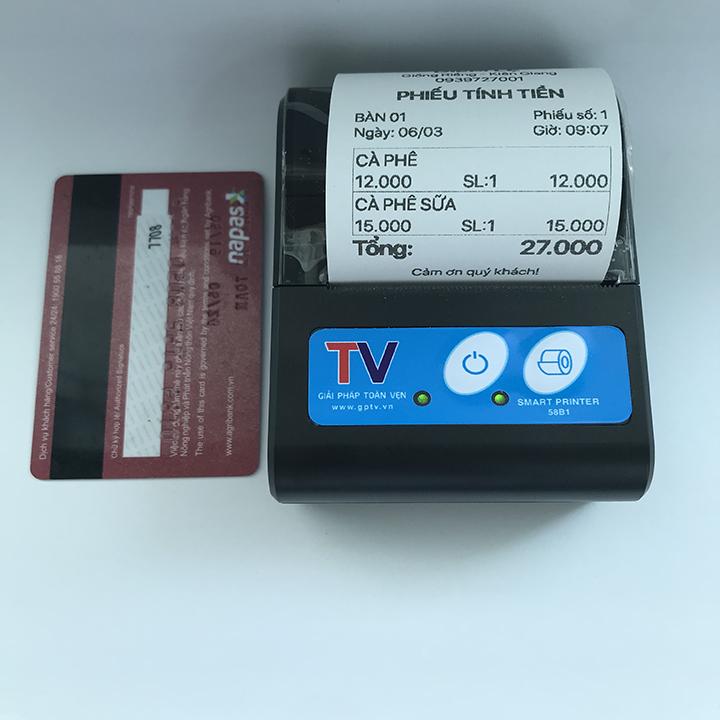 Máy in hóa đơn, máy in bluetooth Mini Di Động bỏ túi cho Windows Android IOS Hỗ trợ in ViettelPay Pro, KiotViet – Tặng 5 cuộn giấy
