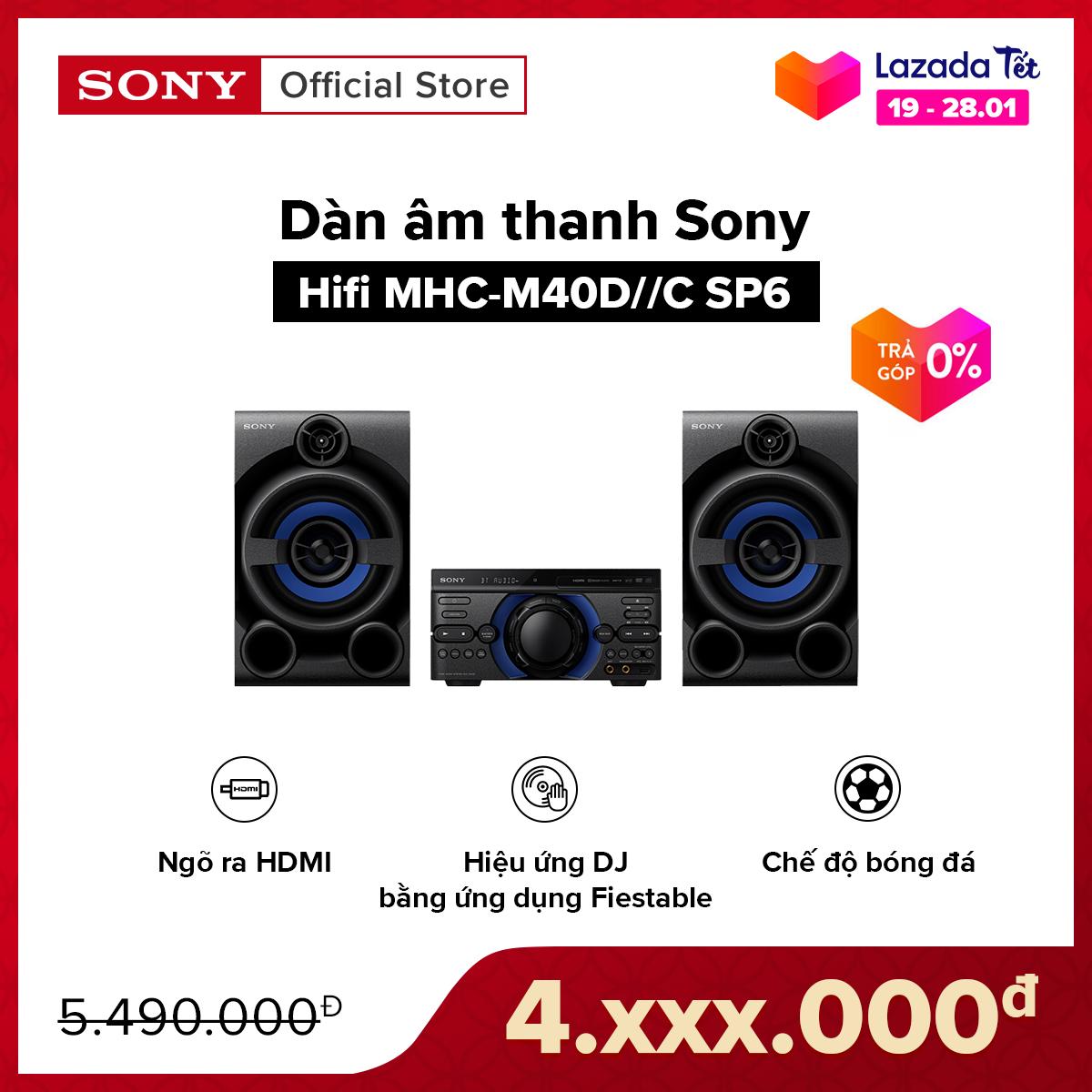[TẶNG NGAY THÙNG BIA HEINEKEN CHO 3 ĐƠN HÀNG ĐẦU TIÊN – VOUCHER 300K – TRẢ GÓP 0%] Dàn âm thanh Sony Hifi MHC-M40D//C SP6 | Đầu phát DVD tích hợp có ngõ ra HDMI | Chế độ bóng đá | Liên kết các hệ thống loa bằng Party Chain qua Bluetooth
