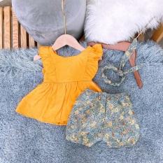Set áo cánh tiên, quần hoa nhí trendy kèm băng đô