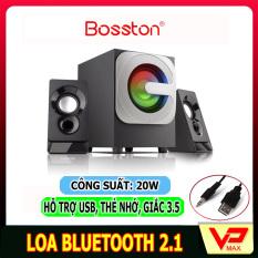 Loa bluetooth 2.1 Bosston có đèn led dùng được điện thoại laptop có cổng USB, thẻ SD phát nhạc