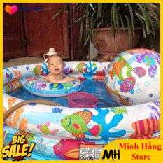 [LOẠI DÀY – TẶNG KÈM BÓNG VÀ PHAO ĐỠ] Bể bơi phao cho bé yêu cùng gia đình vui chơi ngày nóng bức, bể bơm hơi trẻ em cao cấp 3 tầng dạng tròn kích thước 1m32*28cm