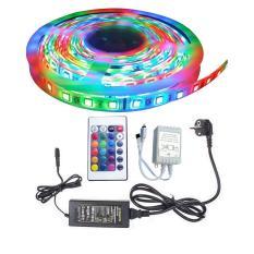 Cuộn đèn Led dây dán 12V 5m đổi nhiều màu (RGB) + Nguồn + Remote điều khiển.Dây đèn led trang trí giá rẻ.