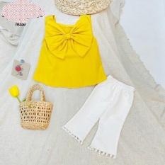 Set áo 2 dây vàng nơ to quần trắng XHN607