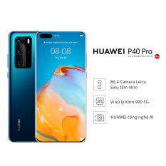 Điện thoại Huawei P40 Pro (8GB/256GB) – Chip Kirin 990 5G 7nm+ Bộ 4 camera Leica siêu tầm nhìn – Màn hình OLED 6.58 inch độ phân giải Quad HD+ uốn cong 4 cạnh – Pin 4200 mAh với công nghệ sạc siêu nhanh không dây HUAWEI – Hàng phân phối chính hãng