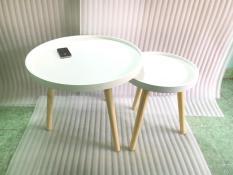 BSF – Cặp bàn tròn viền trắng 60-40, bàn gỗ sofa phòng khách, bàn trà, bàn cafe, coffee, cà phê