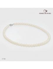 Hoàng Gia Pearl Chuỗi cổ ngọc trai đính khóa Bạc Qúy Kim gồm 60 viên ngọc Freshwater màu trắng 6.5-7.5mm C1134P0F41W034060S001