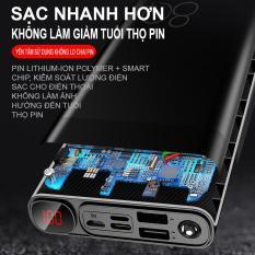 Pin Sạc dự phòng 20000 mAh 2 cổng sạc nhanh vỏ hợp kim cao cấp đèn pin siêu sáng 3 cổng input iphone, android, type c sac du phong, power bank t83