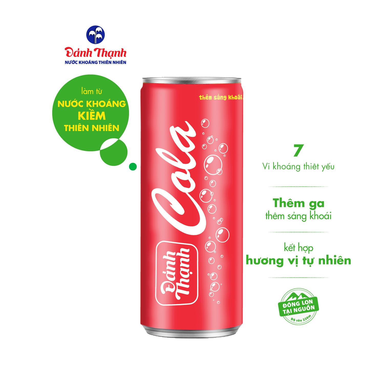Nước khoáng thiên nhiên có ga đảnh thạnh khoáng cola lon 330ml (thùng 24 lon), kết hợp cùng hương vị Cola nồng nàn mang lại cho người dùng cảm giác sảng khoái và căng tràn sức sống mỗi ngày