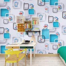 Cuộn 10Met giấy dán tường Doremon Ô Vuông có sẵn keo (khổ 10met x 0.45met). Không thấm nước ,không độc hại, hoàn toàn thân thiện với môi trường.