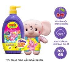 (Tặng kèm gấu bông voi) Sữa tắm gội toàn thân Carrie Junior cho bé 700ml mẫu mới