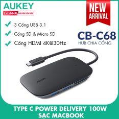 Hub Chia Cổng Type C AUKEY CB-C68 Mở Rộng 7 Cổng 1 Type C PD 100W 1 HDMI Hỗ Trợ Độ Phân Giải 4K 3 Cổng USB 3.1 (10.2 Gbps) 1 Cổng SD & 1 Cổng Micro SD – Nhà Phân Phối Chính Thức
