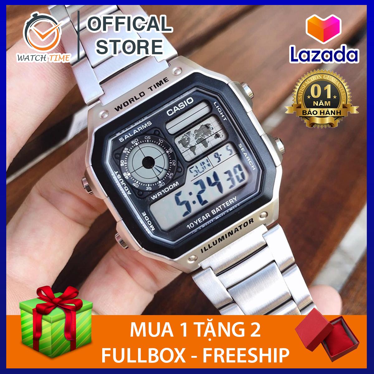 [Cao Cấp] Đồng hồ nam Casio AE 1200-WHD classic chống nước , dây thép không gỉ (dây bạc mặt đen)
