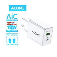 [Bảo Hành 12 Tháng] ACOME AC02 Củ Sạc 2 Cổng USB + Type-C Nguồn ra 3A Chuẩn QC 3.0 & PD – Hàng Chính Hãng