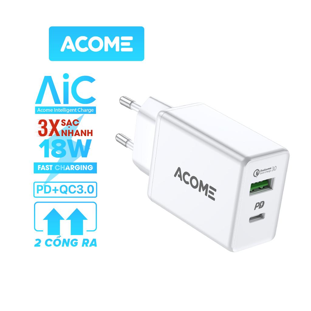 [Bảo Hành 12 Tháng] ACOME AC02 Củ Sạc 2 Cổng USB + Type-C Nguồn ra 3A Chuẩn QC 3.0 &...