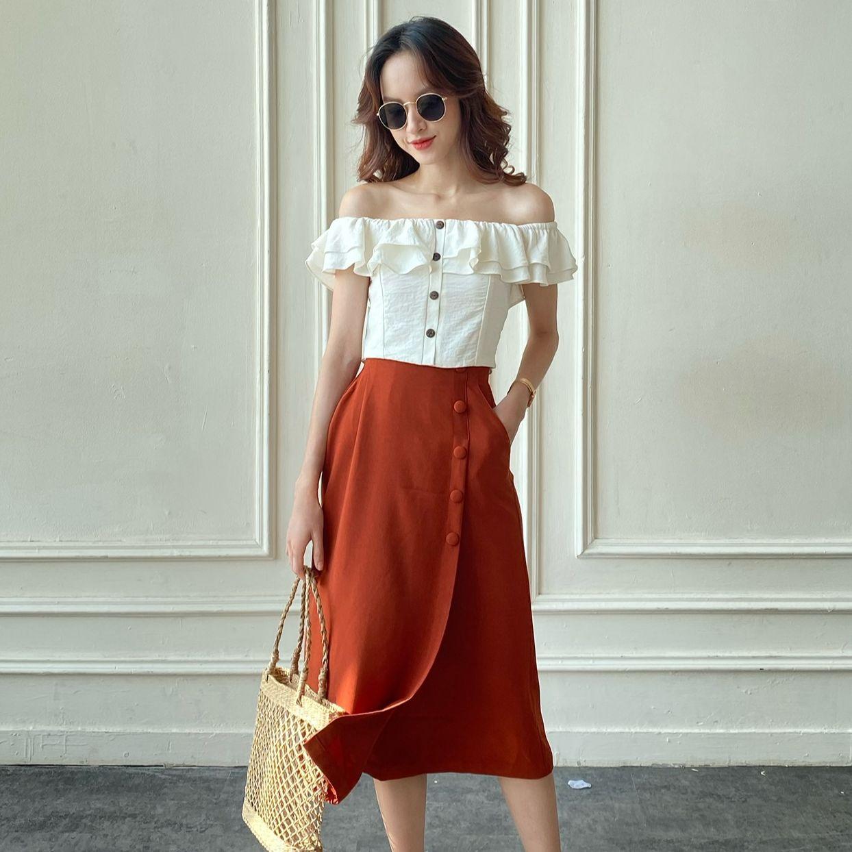 OLV - Chân váy Tangerine Button Midi Skirt