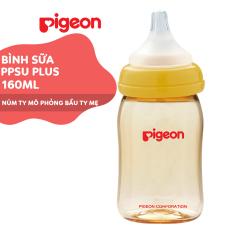 Bình sữa cổ rộng PPSU Plus Pigeon 160ml (SS)