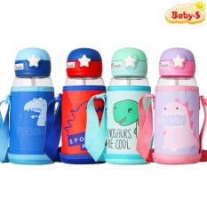 Bình uống nước cho bé có ống hút, Bình nước cho bé đi học 700ml bằng nhựa PP chịu nhiệt tốt tặng kèm túi và dây đeo tiện lợi Baby-S – SBN011