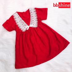 [HCM]Đầm xòe đỏ phối ren đáng yêu cho bé 1-7 tuổi chất cotton nhẹ mát họa tiết đơn giản nhẹ nhàng BBShine – D067