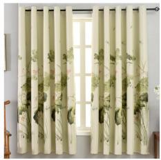 Rèm vải dày che nắng tốt hoa sen thư pháp 1m x 2m dài 1 tấm