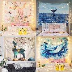 [Tặng Đèn Led và Móc Treo] Tấm Thảm Treo Tường Trang Trí Decor, Vải Treo Tường Phòng Ngủ Phong Khách Nội Thất