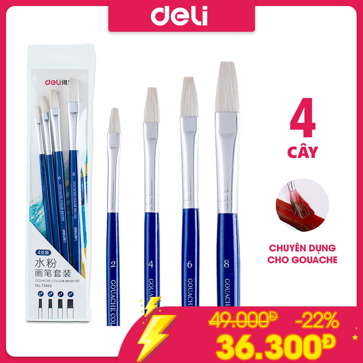 Bộ cọ vẽ chuyên nghiệp Deli – dùng cho màu nước / bột /sơn acrylic / gouache – Set 4/ 6 cây – 1 túi – 73885 / 73866 / 73867