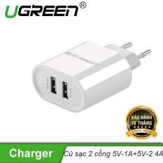 Củ sạc 2 cổng USB 2.0 (1 cổng 5V-1A và 1 cổng tốc độ cao 5V-2.4A) UGREEN CD104 20384 – Hãng phân phối chính thức