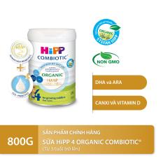 [QUÀ TẶNG HOT] Sữa bột dinh dưỡng công thức HiPP 4 Organic Combiotic chất lượng hữu cơ tự nhiên an toàn, hỗ trợ, tăng cường sức khoẻ hệ miễn dịch, bổ sung Canxi và vitamin D dành cho trẻ trên 3 tuổi 800g