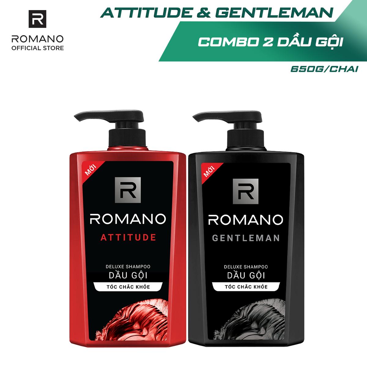 [Voucher 45k]Combo Dầu gội Romano Attitude 650gr và Dầu gội Gentleman 650gr