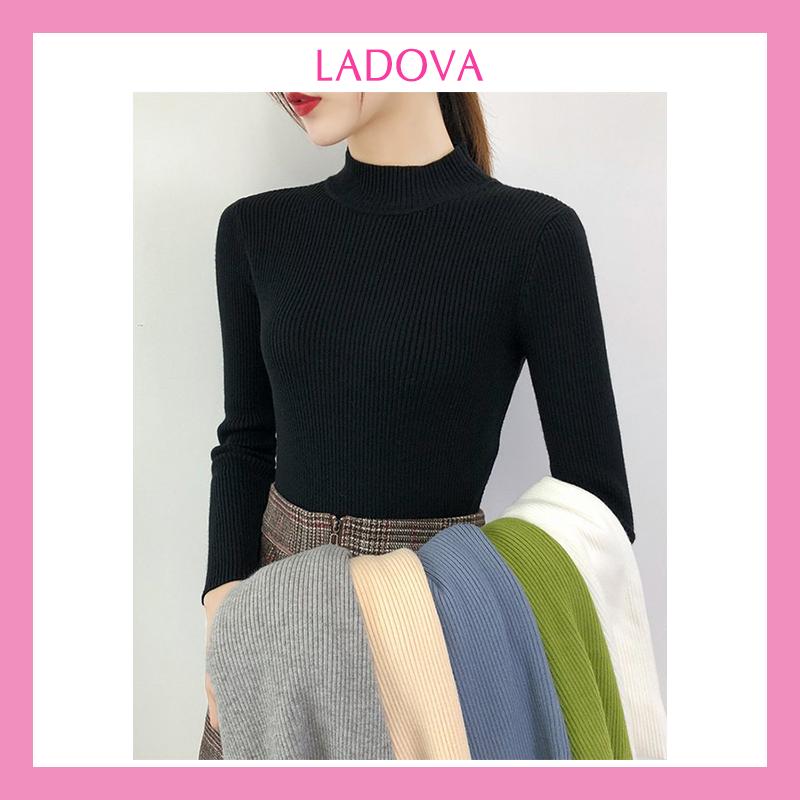 Áo len tăm nữ tay dài cổ lọ 3 phân trơn ôm body mềm mịn co giãn loại 1 nhiều màu dễ phối đồ hàng Quảng Châu LADOVA AL01 (freesize < 60kg)